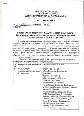 Постановление о закреплении территории за ОУ